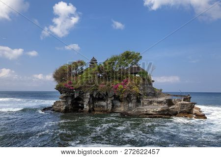 Tanah Lot Water Temple In Bali Island, Indonesia. Outdoor Indonesia Nature Landscape. Tanah Lot Wate