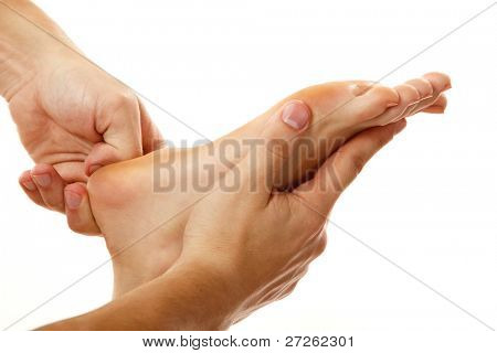 massage foot female close-up isolated on white background poster