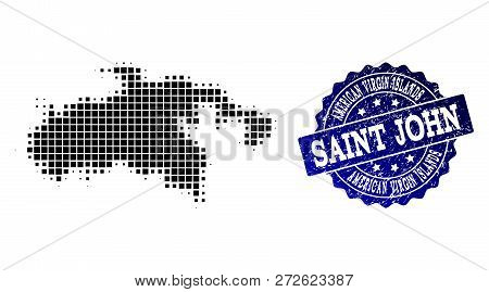 Geographic Combination Of Dot Map Of Saint John Island And Blue Grunge Seal Watermark. Halftone Vect