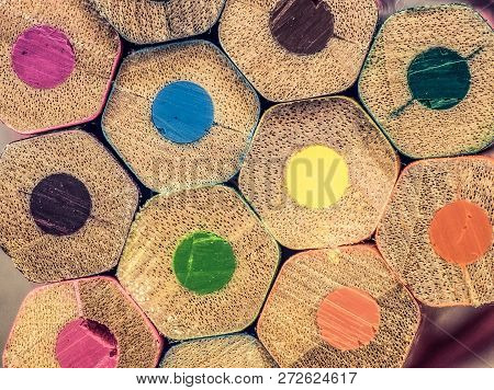 Close Up Of An Assortment Of Coloured Pencils . Background Of Colorful Pencils. Creative Idea And Co