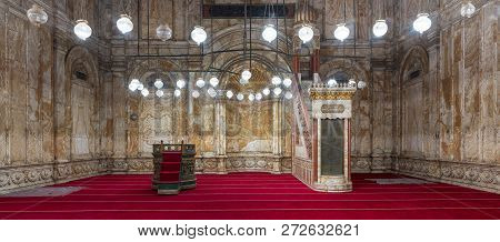 Cairo, Egypt - December 2 2018: Decorated Alabaster (marble) Wall With Engraved Niche (mihrab) And P