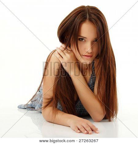 teen girl beautiful cheerful enjoying isolated on white background