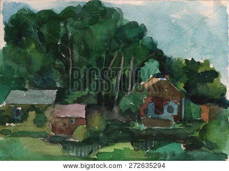 Watercolor Painting Handmade. Landscape With Houses And Trees. Rural Landscape. Rural Landscape.