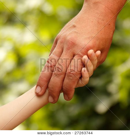 family father and child son hands green nature outdoor