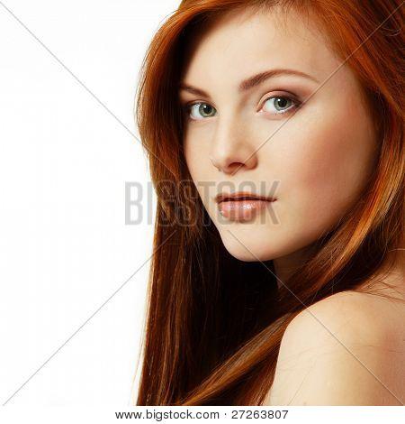 teenager girl beautiful red hair cheerful enjoying isolated