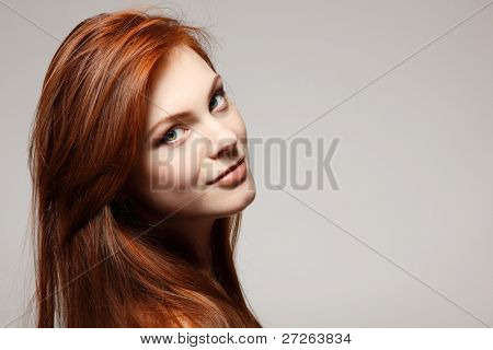teenager girl beautiful red hair cheerful enjoying