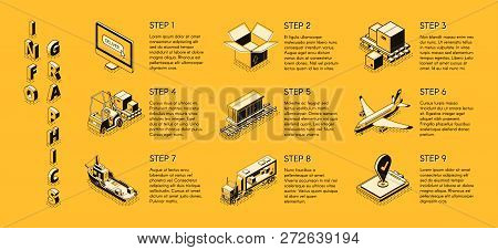 International Delivery Service, Transport And Logistics Company, Shipping Business Isometric Vector