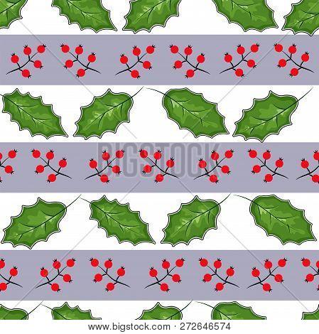 Cowberry Vector Illustration, Berries Images. Doodle Cowberry Vector Illustration In Red And Green C