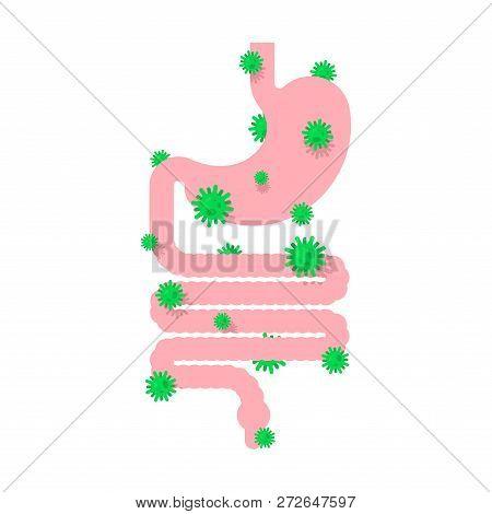 Sick Gastrointestinal Tract. Diseased Internal Organ. Aching Viruses And Bacteria. Human Disease. Ai