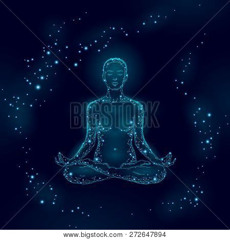 Yoga Practice Woman In Lotus Position Low Poly Silhouette. Polygonal Yoga Relaxation Exercise Wellne