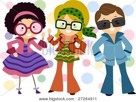 Illustratie van kinderen gekleed in Retro kostuums