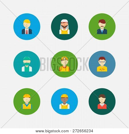 Occupation Icons Set. African Worker And Occupation Icons With Arab Worker, Office Boss And Manager.