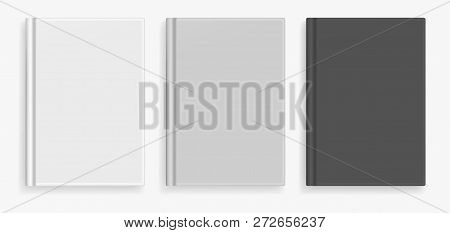 Rectangular Vector Blank Black, White And Gray Realistic Book Cover Mockup, Closed Organizer Or Note