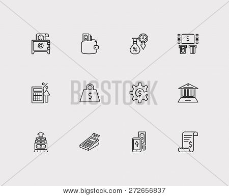 Banking Icons Set. Mobile Payment And Banking Icons With Bill Invoice, Online Bank And Money Transfe