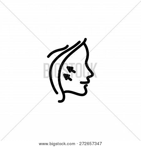 Face Lifting Line Icon. Arrow, Wrinkles, Rejuvenation. Cosmetology Concept. Vector Illustration Can