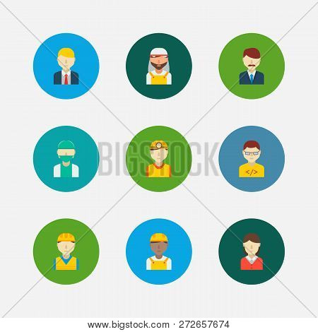 Professional Icons Set. African Worker And Professional Icons With Arab Worker, Office Boss And Mana