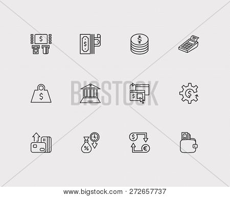 Banking Icons Set. Online Payment And Banking Icons With Bank Atm, Online Bank And Cryptocurrency. S