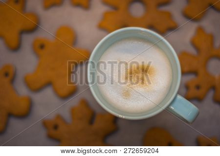 Cappuccino Cup And Home-made Gingerbread In The Background
