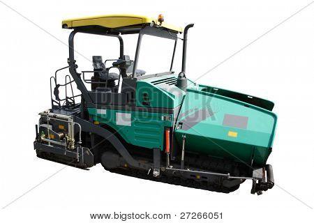 asphalt spreading machine under the white background