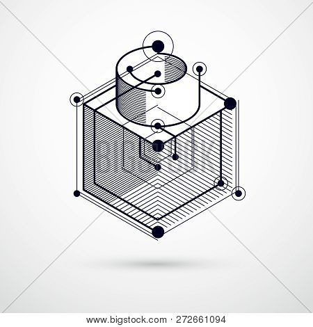 Abstract Vector Composition With Simple Geometric Figures, Symbols, Art Black And White Background.