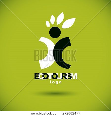 Vector Illustration Of Excited Abstract  Man With Raised Reaching Up. Ecotourism Conceptual Logo. Gr