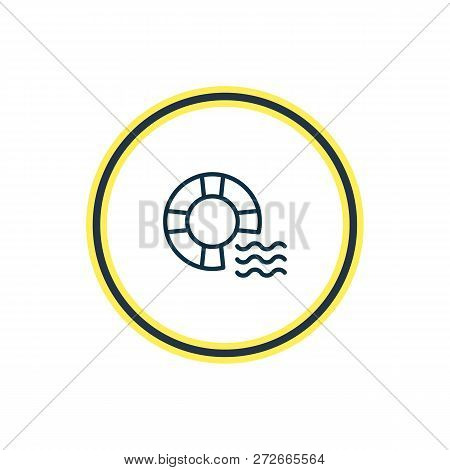Vector Illustration Of Lifebuoy Icon Line. Beautiful Sea Element Also Can Be Used As Lifeguard Icon