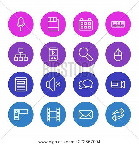 illustration of 16 media icons line style. Editable set of floppy disk, microphone, reload and other icon elements. poster