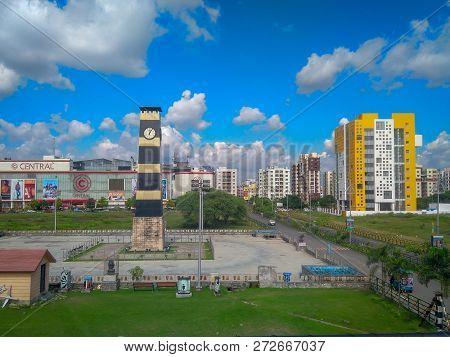 New Town, Kolkata, West Bengal, India - November 2, 2018 : A View Of The Clock Tower Set Up At New T