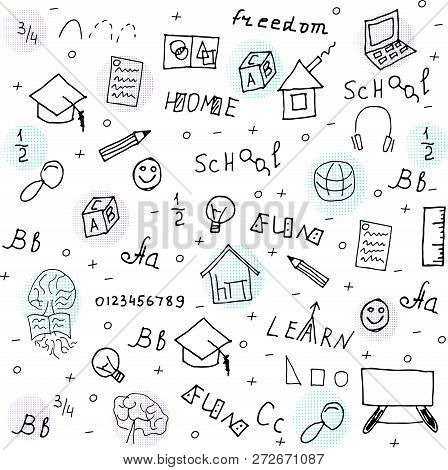 Home Education Doodle Style Vector Illustration With Hand Drawn Lettering.