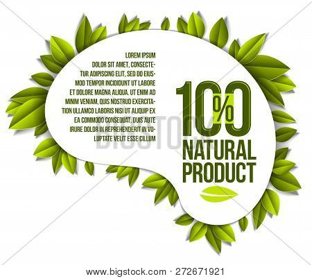 Organic Food, Natural Product Badge, 100 Percent Natural Design Element, Organic Products Promotion,