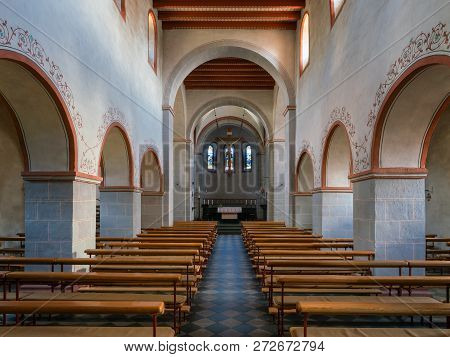 Odenthal, Germany - September 21, 2018: View Into The Romanesque Parish Church Of Saint Pankratius O