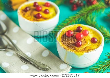 Christmas And New Year Composition With Sweet Delicious Apples Dessert, Spruce Branches, Cutlery On
