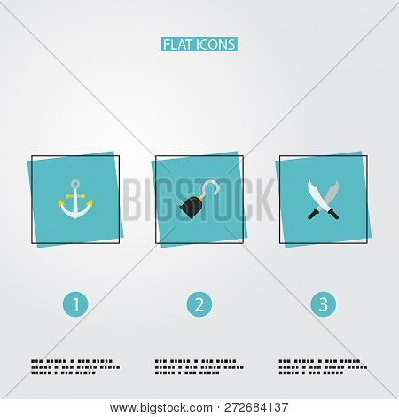 Set of piracy icons flat style symbols with hand hook, black mark, anchor icons for your web mobile app logo design. poster