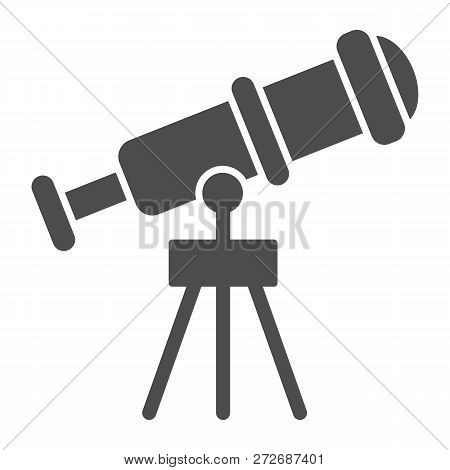 Telescope Solid Icon. Spyglass Vector Illustration Isolated On White. Ocular Glyph Style Design, Des