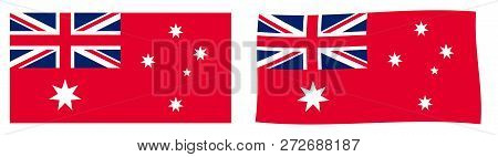 Commonwealth Of Australia Civil Flag Variant (australian Red Ensign). Simple And Slightly Waving Ver