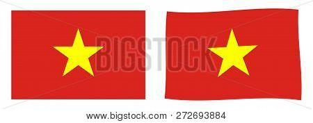 Socialist Republic Of Vietnam Flag. Simple And Slightly Waving Version.