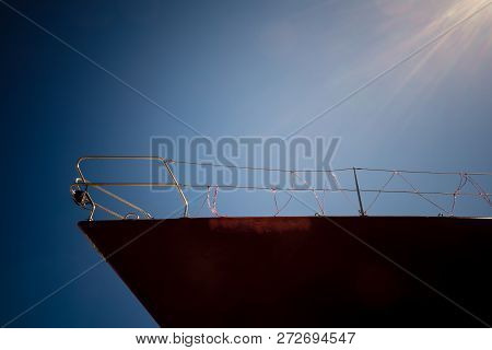 Close Up Of Ship Prow Nautical Vessel Detail. Sailing And Shipping Objects.