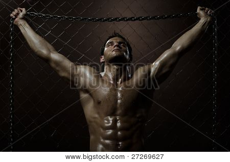 the very muscular handsome weary sexy guy on netting steel fence with steel chain poster