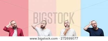 Collage of young man with beard over colorful stripes isolated background confuse and wonder about question. Uncertain with doubt, thinking with hand on head. Pensive concept.