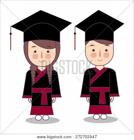 Japanese Style Vector Cartoon Style Kids Characters In Graduation Robe Toga Cap. Boy And Girl Pupil