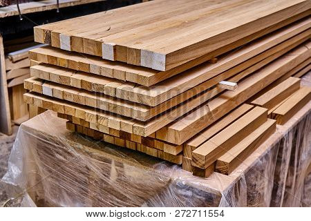 Woodworking and joinery production. Bars for gluing wooden panels stacked on falsework poster