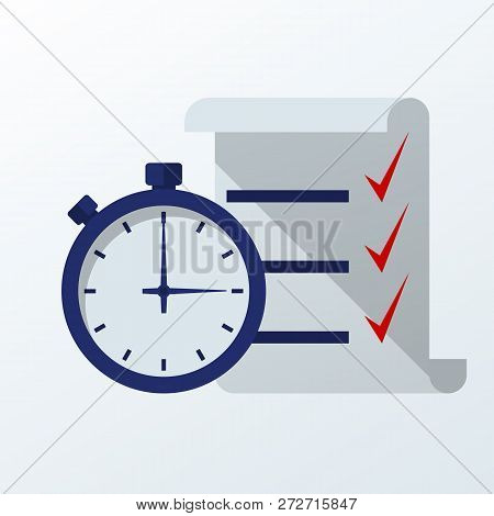 Fast Service. Stopwatch With Checklist And Completed Tasks. Vector Illustration Flat Design. Isolate