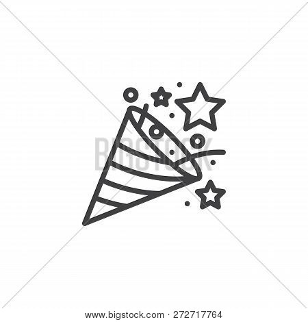 Confetti Popper Outline Icon. Linear Style Sign For Mobile Concept And Web Design. Firecracker, Fire