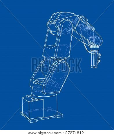 3d Outline Robotic Arm. Vector Rendering Of 3d. Wire-frame Style. The Layers Of Visible And Invisibl