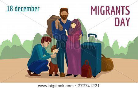 World migrants day concept banner. Cartoon illustration of world migrants day concept banner for web design poster