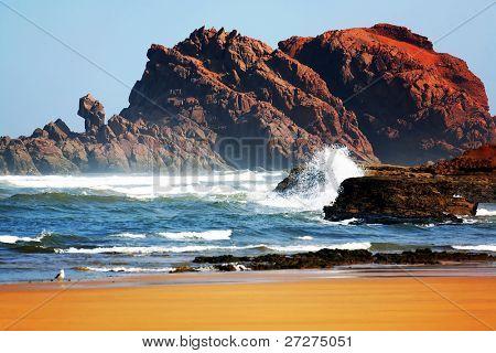 Scenic view of the Atlantic Ocean Coast, Morocco, Africa