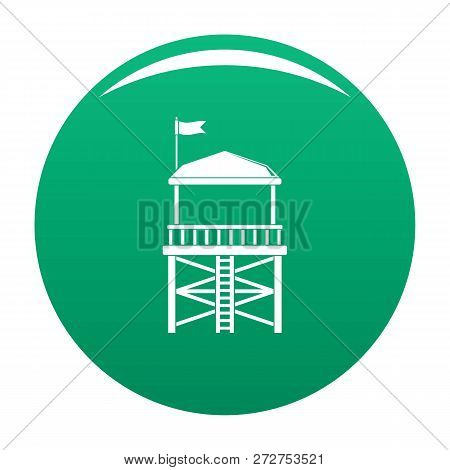 Rescue Tower Icon. Simple Illustration Of Rescue Tower Icon For Any Design Green