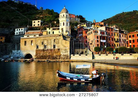 Sunset light in Vernazza Village, Cinque Terre, Italy
