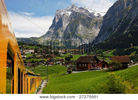 Jungfrau Bahn over Grindelwald Village, Switzerland