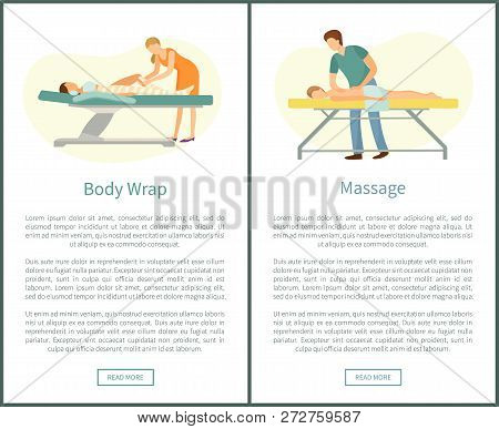 Massage And Body Wrap Spa Procedures Made By Masseur. Client Lying On Table And Relaxing Vector Web